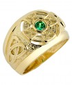 Gold Celtic Ring Mens with Emerald