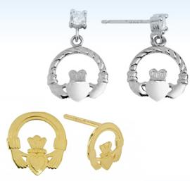 claddagh earrings, claddagh gold earrings, silver earrings, post earrings