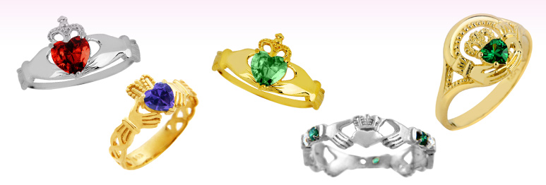 birthstone claddagh rings, colorstone claddagh rings