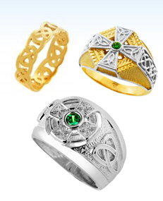 celtic rings, mens celtic rings, emerald rings