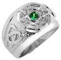 White Gold Celtic Ring Mens with Emerald