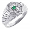 Men's Celtic Band - White Gold Celtic Ring Mens with Emerald