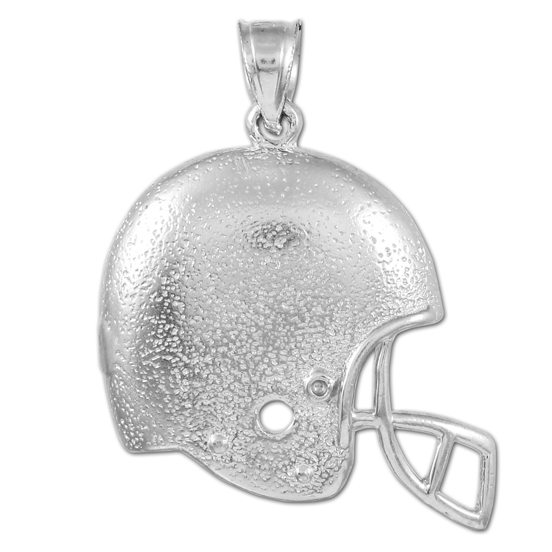 White Gold Football Helmet Pendant