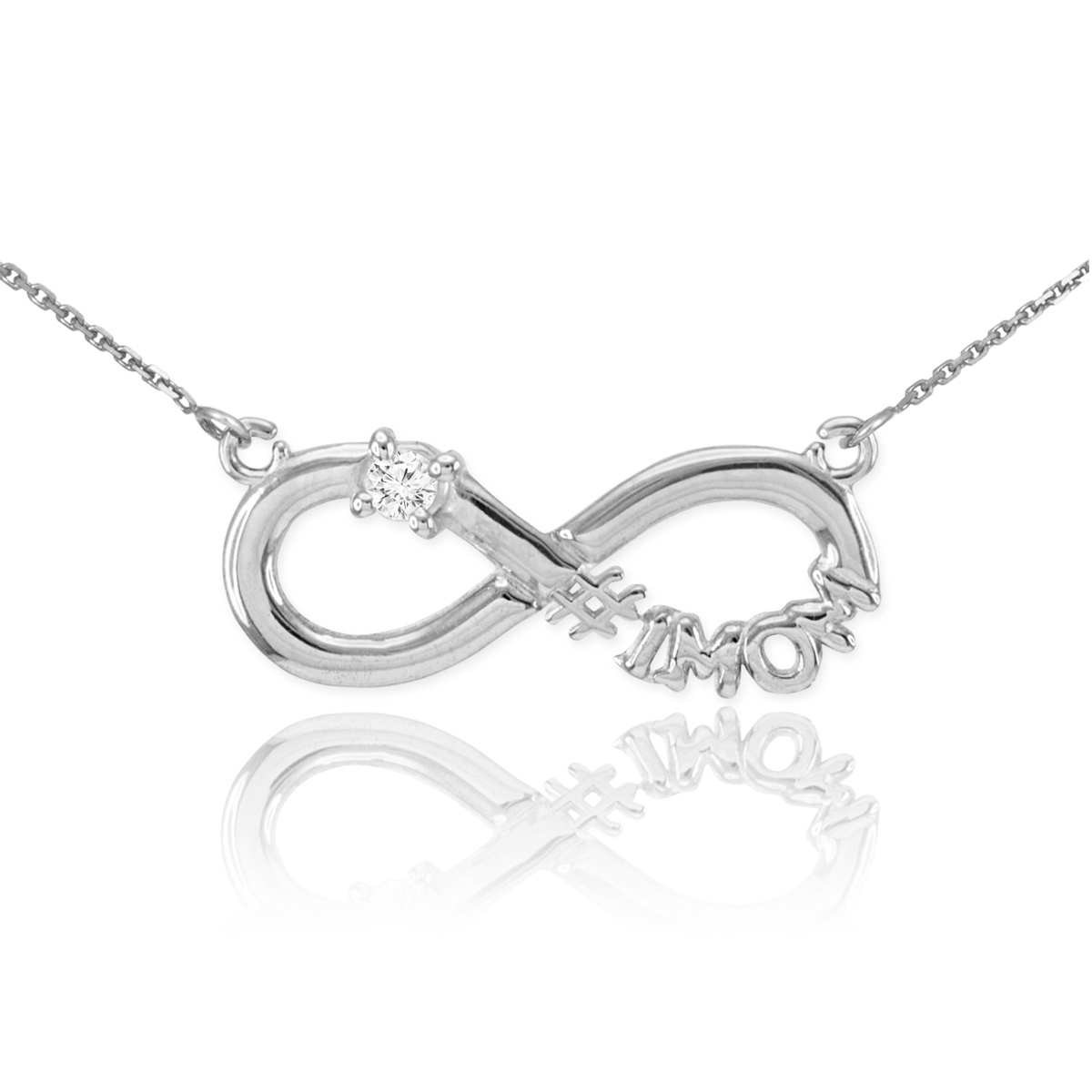 White Gold Mom Infinity Necklace